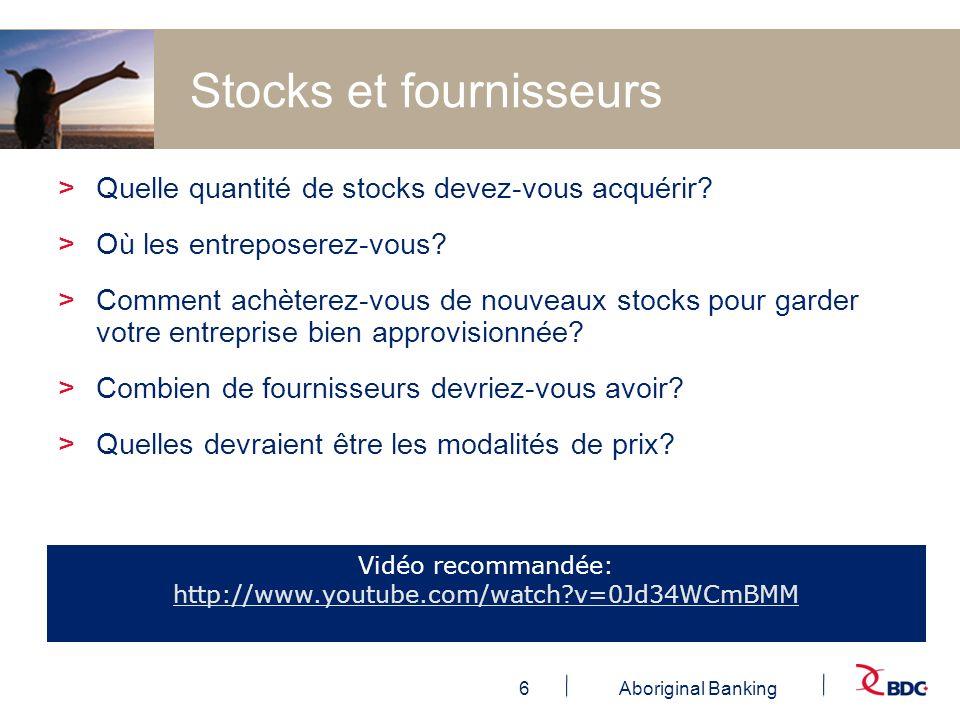 6Aboriginal Banking Stocks et fournisseurs >Quelle quantité de stocks devez-vous acquérir? >Où les entreposerez-vous? >Comment achèterez-vous de nouve