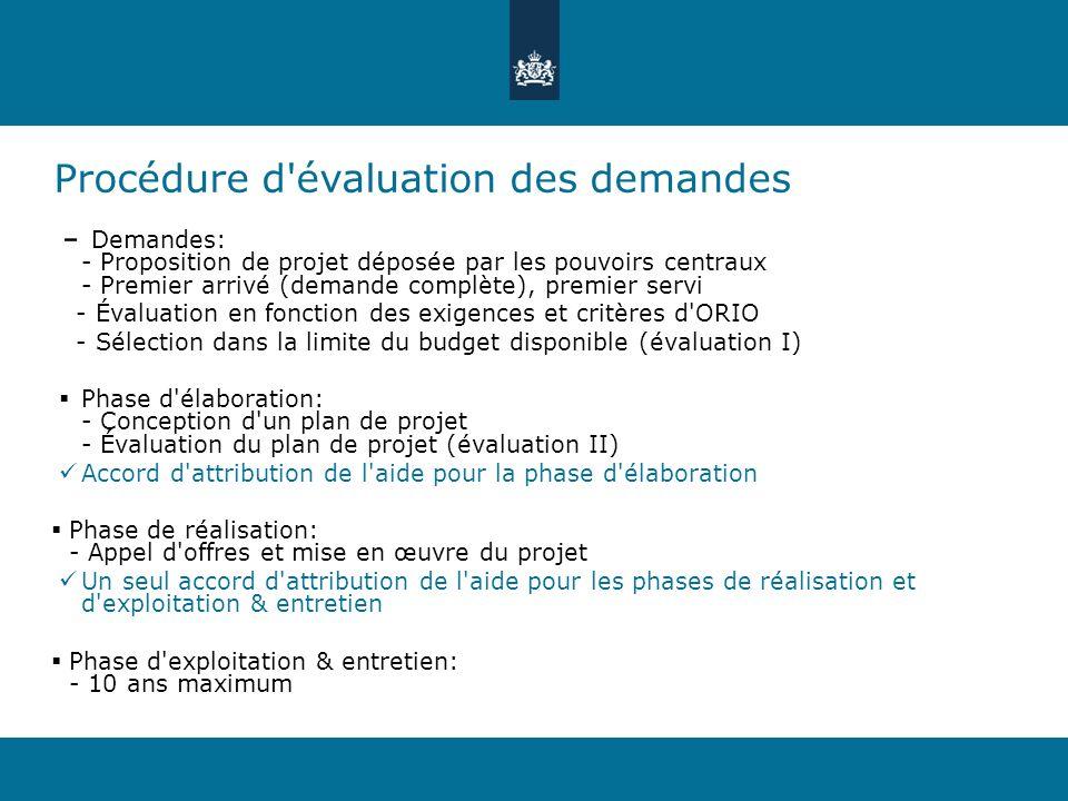 Procédure d évaluation des demandes Demandes: - Proposition de projet déposée par les pouvoirs centraux - Premier arrivé (demande complète), premier servi - Évaluation en fonction des exigences et critères d ORIO - Sélection dans la limite du budget disponible (évaluation I) Phase d élaboration: - Conception d un plan de projet - Évaluation du plan de projet (évaluation II) Accord d attribution de l aide pour la phase d élaboration Phase de réalisation: - Appel d offres et mise en œuvre du projet Un seul accord d attribution de l aide pour les phases de réalisation et d exploitation & entretien Phase d exploitation & entretien: - 10 ans maximum