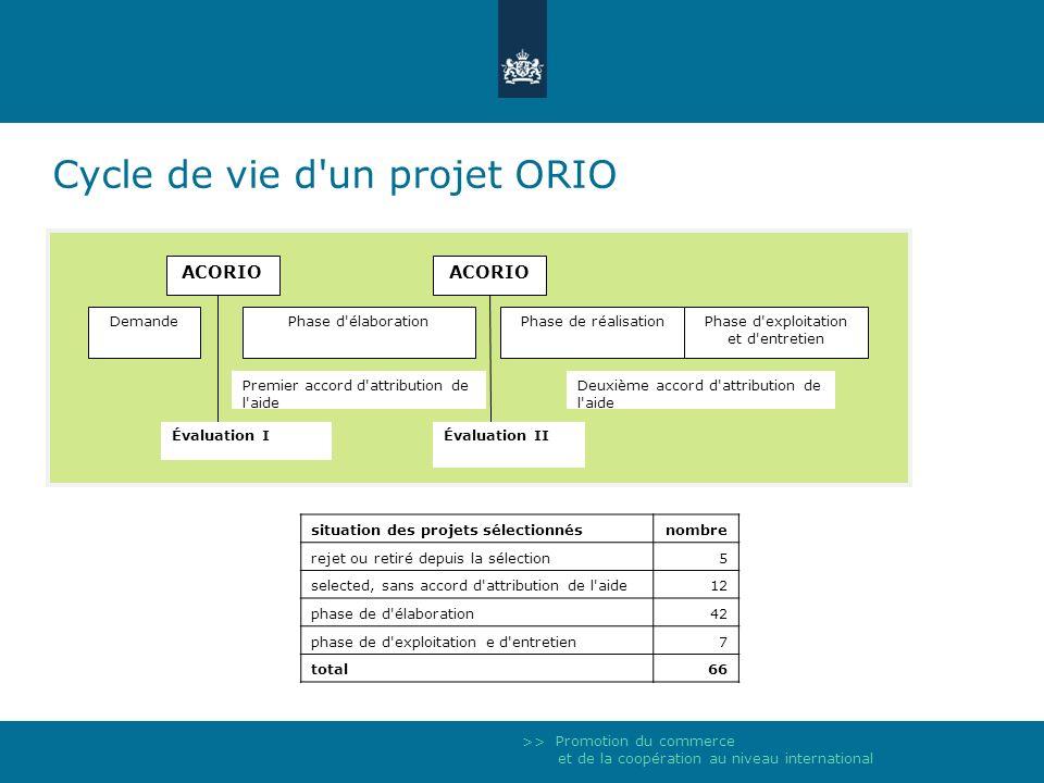 >> Promotion du commerce et de la coopération au niveau international Cycle de vie d'un projet ORIO Phase d'élaborationPhase de réalisationPhase d'exp