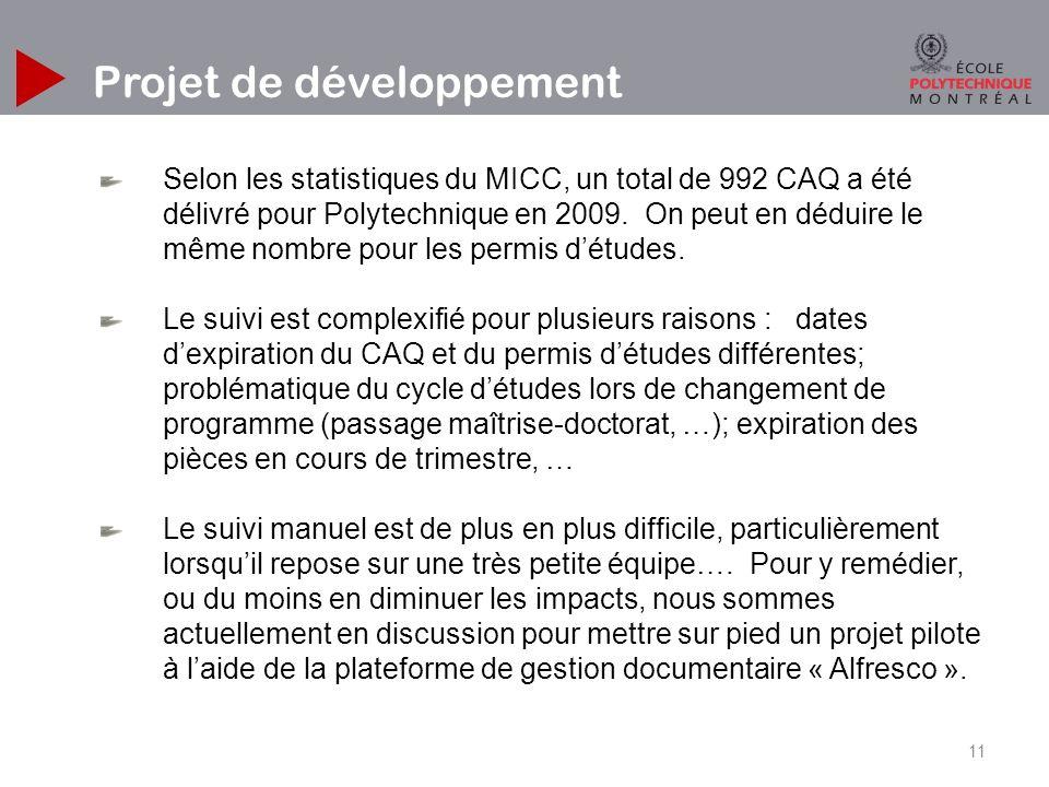 11 Projet de développement Selon les statistiques du MICC, un total de 992 CAQ a été délivré pour Polytechnique en 2009.