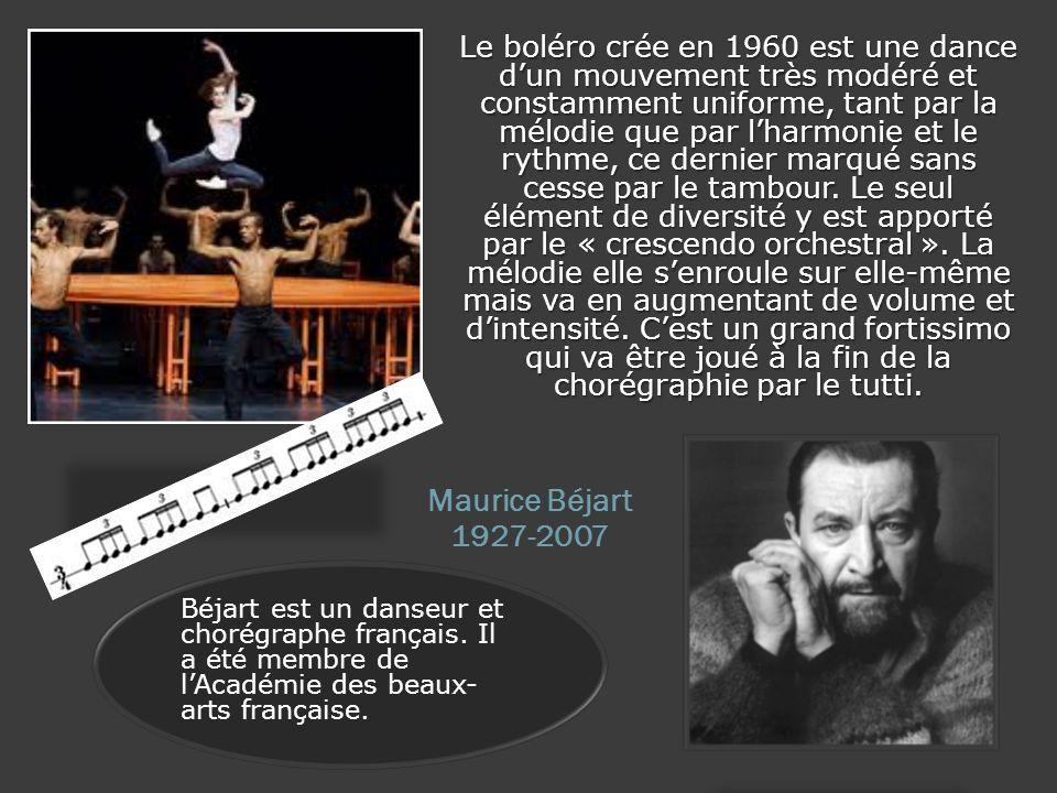 Le boléro crée en 1960 est une dance dun mouvement très modéré et constamment uniforme, tant par la mélodie que par lharmonie et le rythme, ce dernier