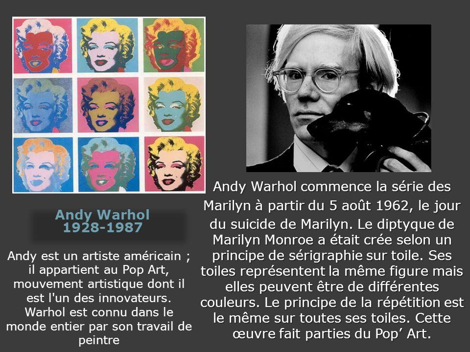 Andy est un artiste américain ; il appartient au Pop Art, mouvement artistique dont il est l'un des innovateurs. Warhol est connu dans le monde entier