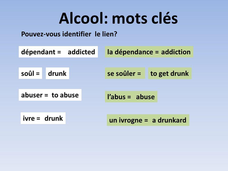 Alcool: mots clés Pouvez-vous identifier le lien? dépendant =la dépendance = soûl =se soûler = abuser = labus = addictedaddiction drunkto get drunk to