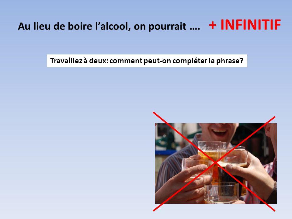Au lieu de boire lalcool, on pourrait …. + INFINITIF Travaillez à deux: comment peut-on compléter la phrase?