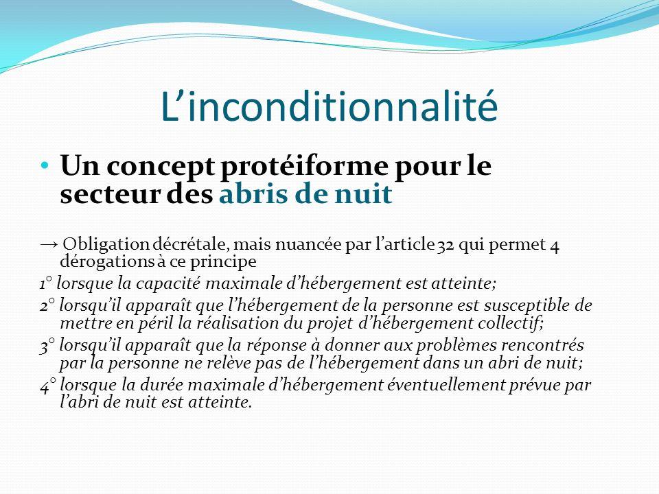 Linconditionnalité Un concept protéiforme pour le secteur des abris de nuit Obligation décrétale, mais nuancée par larticle 32 qui permet 4 dérogation