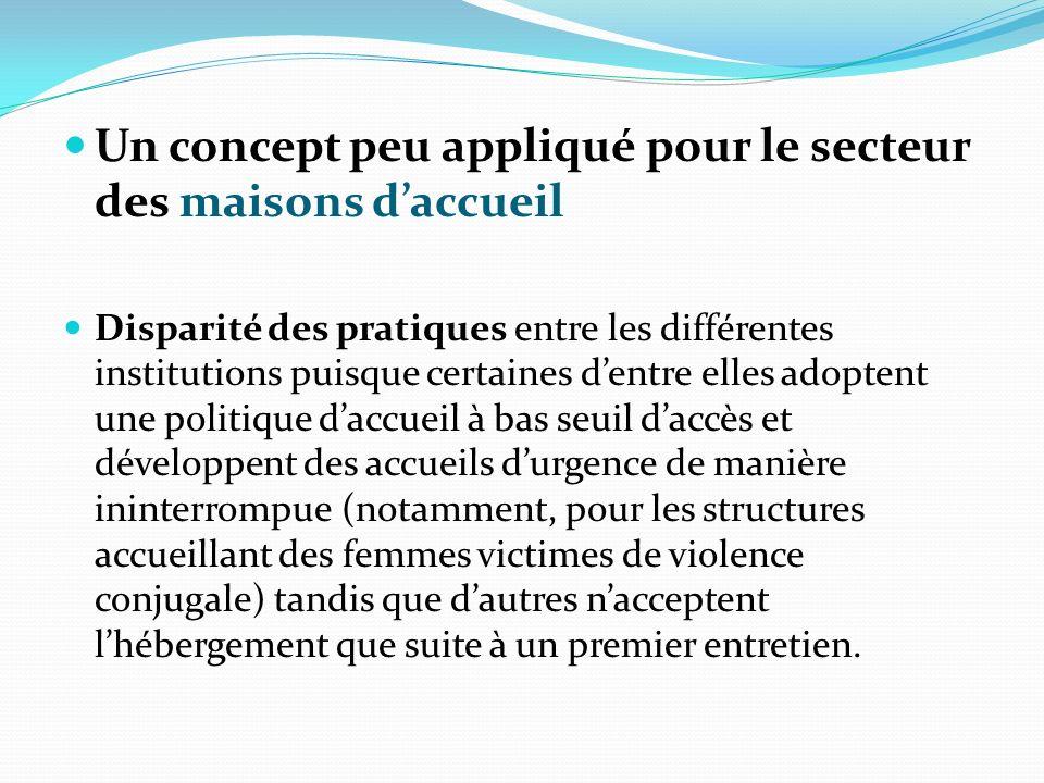 Un concept peu appliqué pour le secteur des maisons daccueil Disparité des pratiques entre les différentes institutions puisque certaines dentre elles