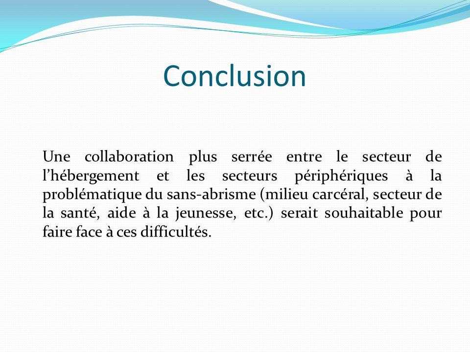 Conclusion Une collaboration plus serrée entre le secteur de lhébergement et les secteurs périphériques à la problématique du sans-abrisme (milieu carcéral, secteur de la santé, aide à la jeunesse, etc.) serait souhaitable pour faire face à ces difficultés.