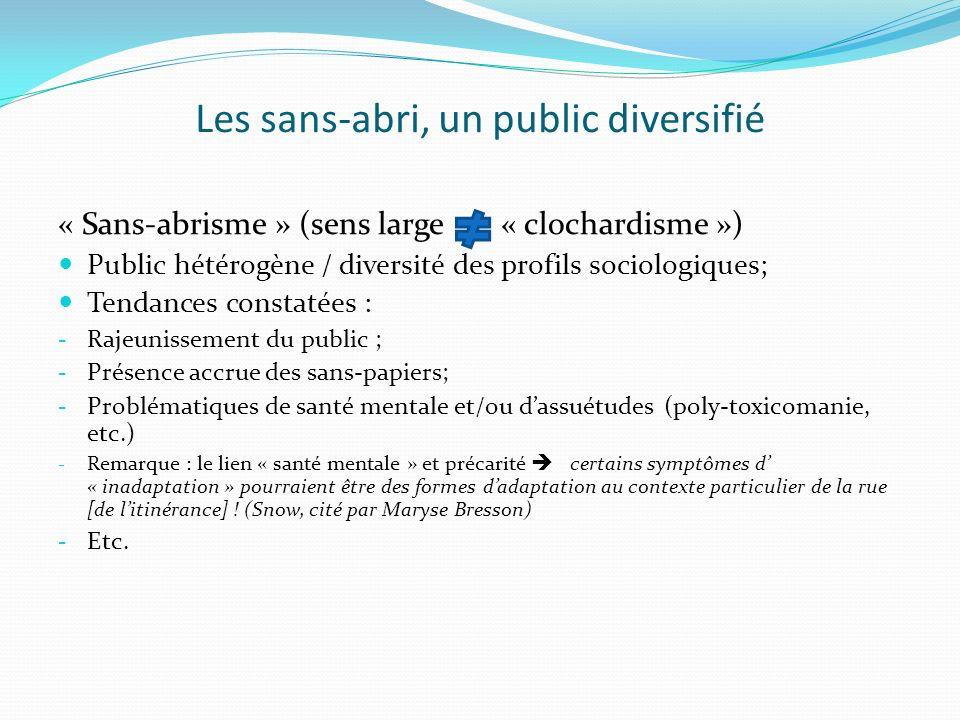 Les sans-abri, un public diversifié « Sans-abrisme » (sens large « clochardisme ») Public hétérogène / diversité des profils sociologiques; Tendances