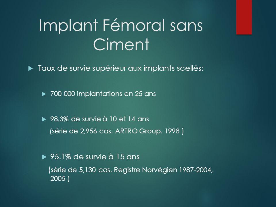 Implant Fémoral sans Ciment Aspect radiologique de lostéointégration induite par lhydroxyapatite : Nécessité deffectuer une ostéotomie fémorale quand lextraction de limplant simpose à 15 ans.