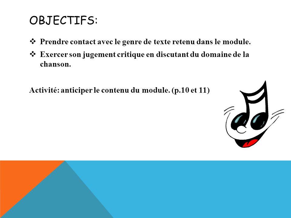 OBJECTIFS: Prendre contact avec le genre de texte retenu dans le module.