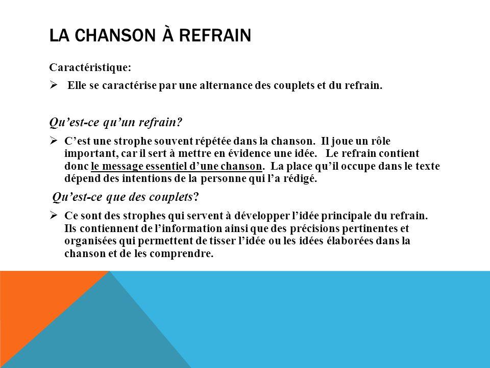 LA CHANSON À REFRAIN Caractéristique: Elle se caractérise par une alternance des couplets et du refrain.