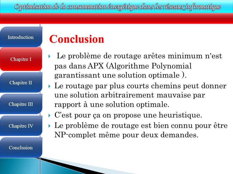 4 Chapitre I Introduction Chapitre II Chapitre III Chapitre IV Conclusion Conclusion Le problème de routage arêtes minimum n est pas dans APX (Algorithme Polynomial garantissant une solution optimale ).