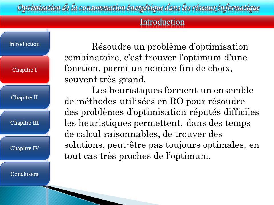 4 Chapitre I Introduction Chapitre II Chapitre III Chapitre IV Conclusion Résoudre un problème doptimisation combinatoire, cest trouver loptimum dune fonction, parmi un nombre fini de choix, souvent très grand.