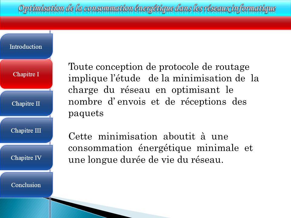 4 Chapitre I Introduction Chapitre II Chapitre III Chapitre IV Conclusion Toute conception de protocole de routage implique létude de la minimisation