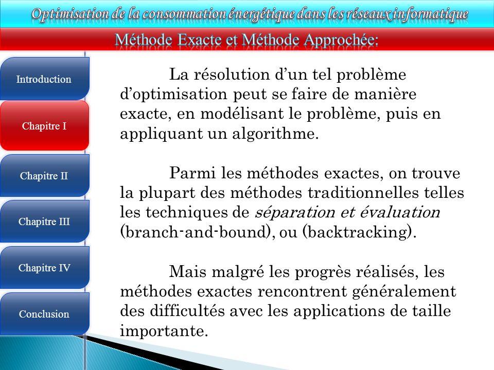 4 Chapitre I Introduction Chapitre II Chapitre III Chapitre IV Conclusion La résolution dun tel problème doptimisation peut se faire de manière exacte, en modélisant le problème, puis en appliquant un algorithme.
