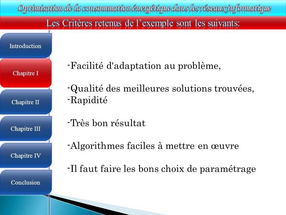 4 Chapitre I Introduction Chapitre II Chapitre III Chapitre IV Conclusion -Facilité d'adaptation au problème, -Qualité des meilleures solutions trouvé