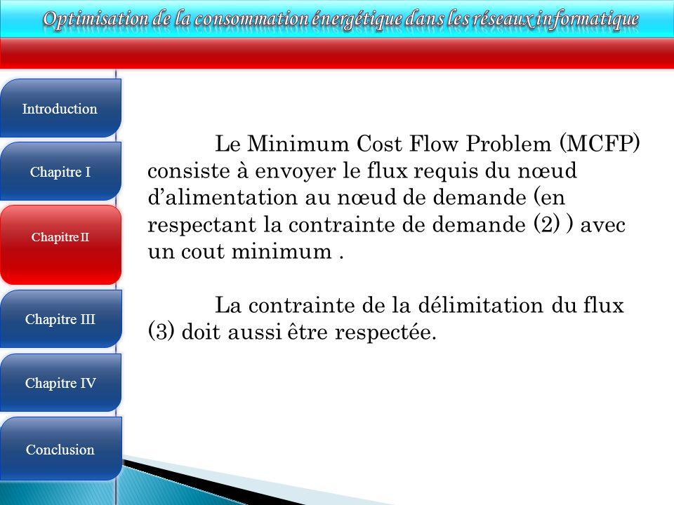 4 Chapitre II Introduction Chapitre I Chapitre III Chapitre IV Conclusion Le Minimum Cost Flow Problem (MCFP) consiste à envoyer le flux requis du nœu