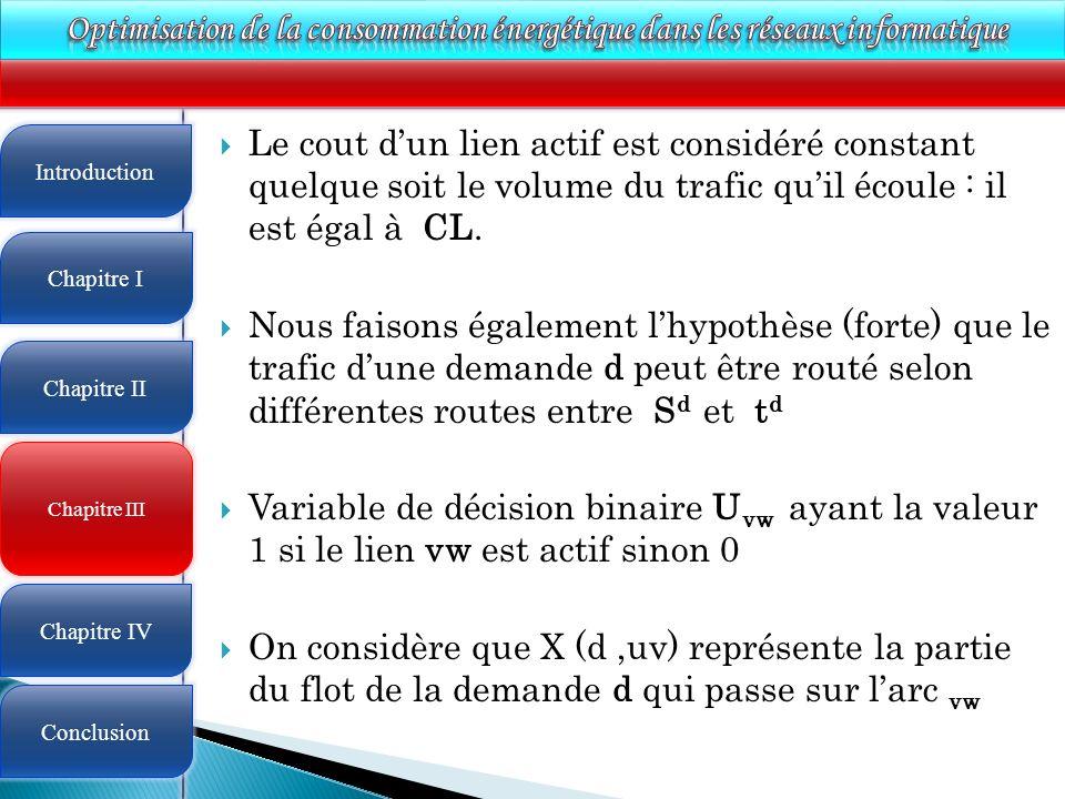 4 Le cout dun lien actif est considéré constant quelque soit le volume du trafic quil écoule : il est égal à CL. Nous faisons également lhypothèse (fo