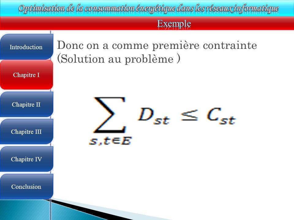 4 Chapitre I Introduction Chapitre II Chapitre III Chapitre IV Conclusion Donc on a comme première contrainte (Solution au problème )