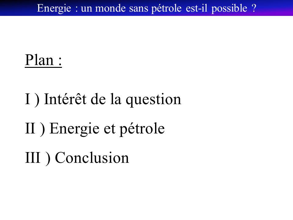 Plan : I ) Intérêt de la question II ) Energie et pétrole III ) Conclusion Energie : un monde sans pétrole est-il possible ?