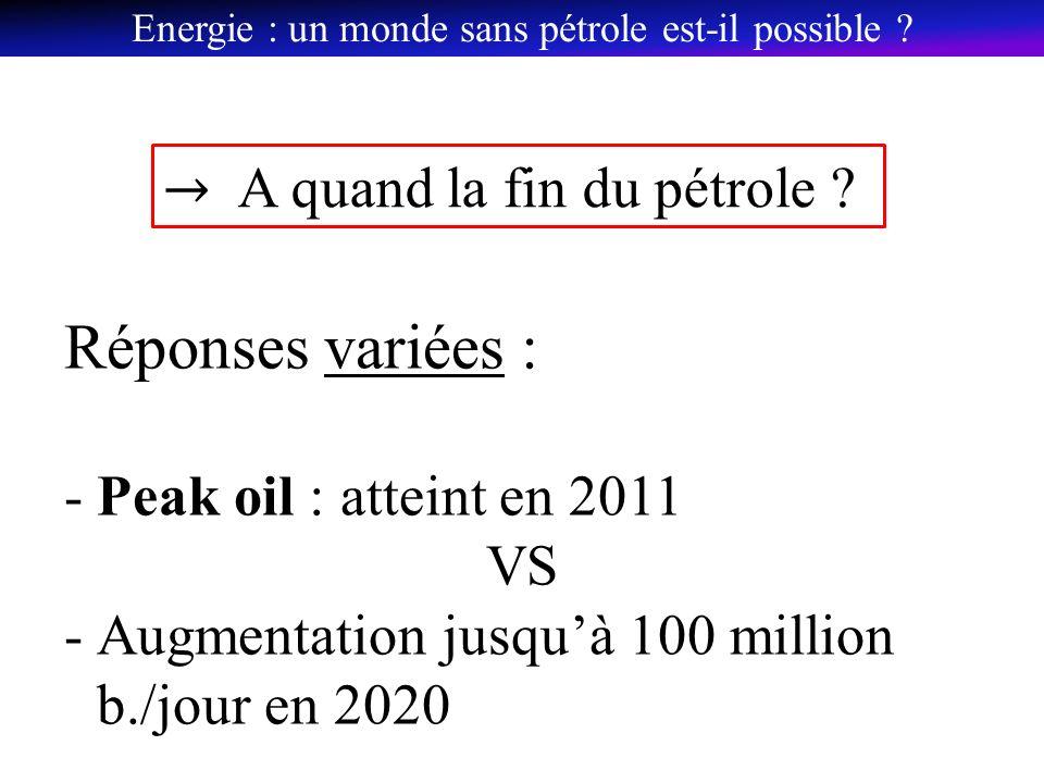Réponses variées : -Peak oil : atteint en 2011 VS -Augmentation jusquà 100 million b./jour en 2020 Energie : un monde sans pétrole est-il possible ?