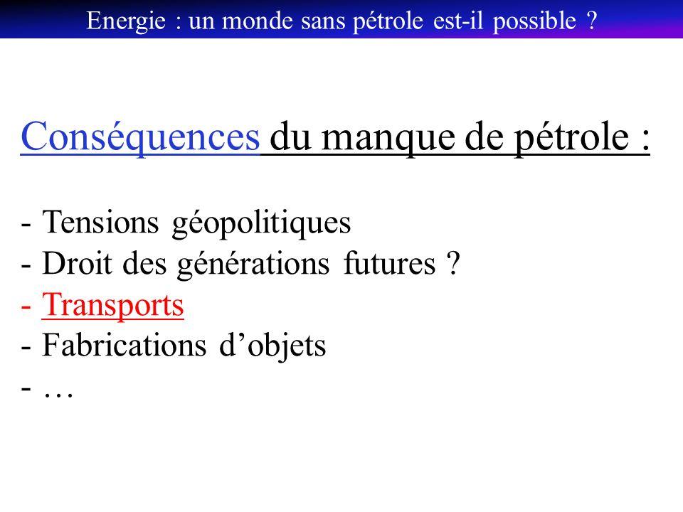 Conséquences du manque de pétrole : -Tensions géopolitiques -Droit des générations futures .