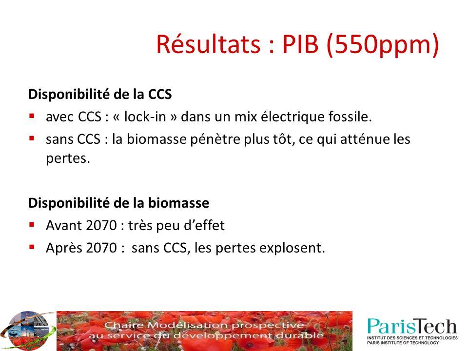Disponibilité de la CCS avec CCS : « lock-in » dans un mix électrique fossile. sans CCS : la biomasse pénètre plus tôt, ce qui atténue les pertes. Dis