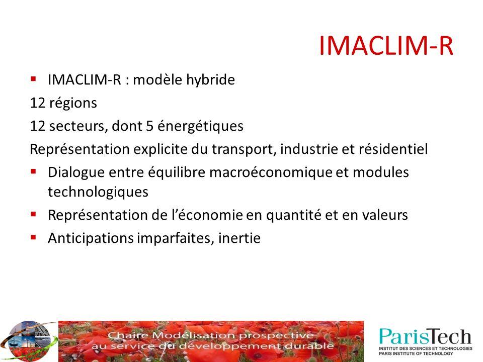 IMACLIM-R IMACLIM-R : modèle hybride 12 régions 12 secteurs, dont 5 énergétiques Représentation explicite du transport, industrie et résidentiel Dialo