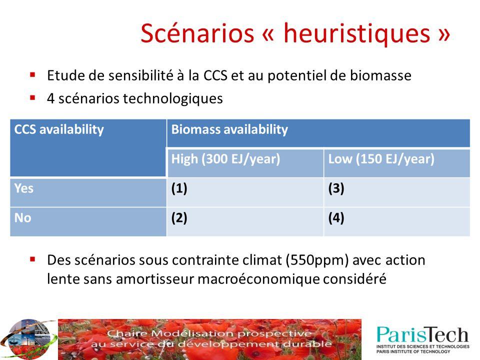 Scénarios « heuristiques » Etude de sensibilité à la CCS et au potentiel de biomasse 4 scénarios technologiques Des scénarios sous contrainte climat (550ppm) avec action lente sans amortisseur macroéconomique considéré