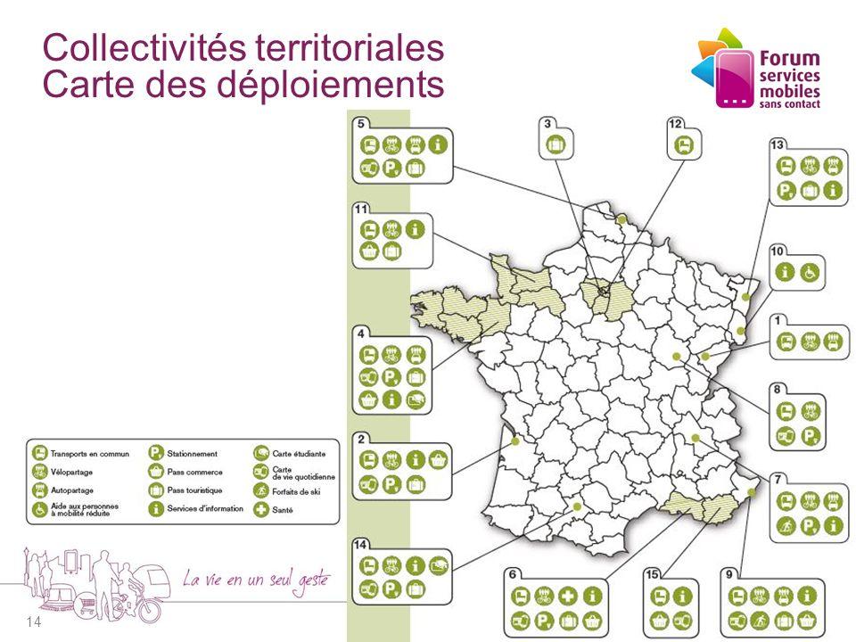 Collectivités territoriales Carte des déploiements 14