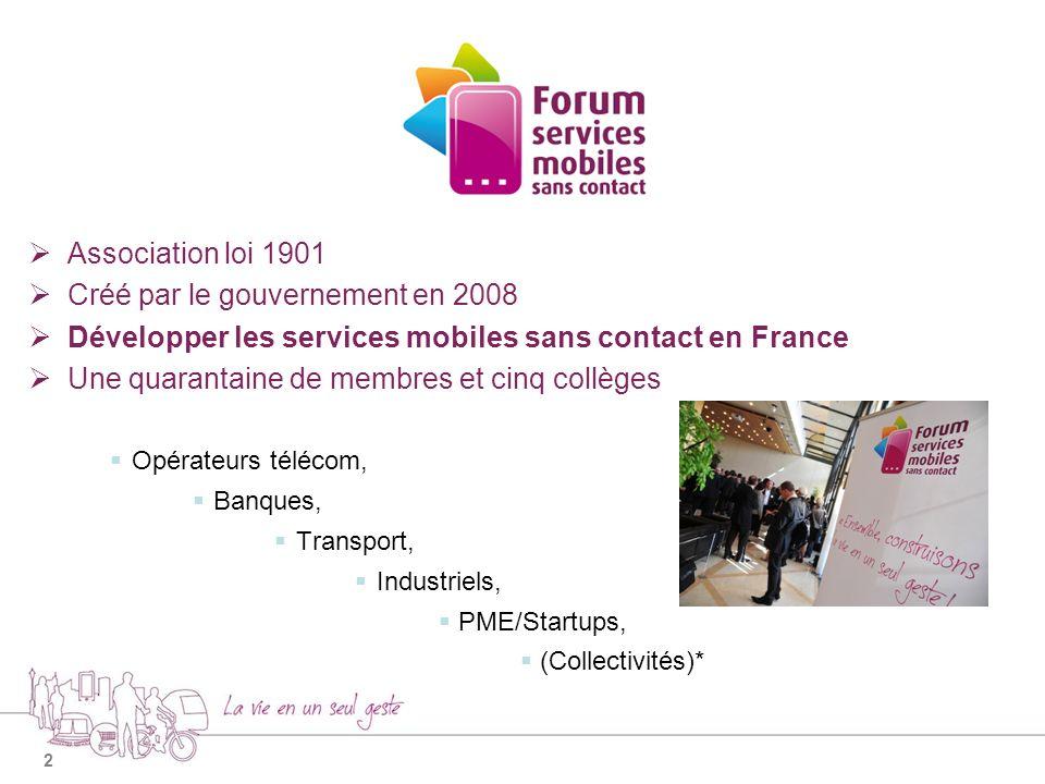 2 Association loi 1901 Créé par le gouvernement en 2008 Développer les services mobiles sans contact en France Une quarantaine de membres et cinq collèges Opérateurs télécom, Banques, Transport, Industriels, PME/Startups, (Collectivités)*