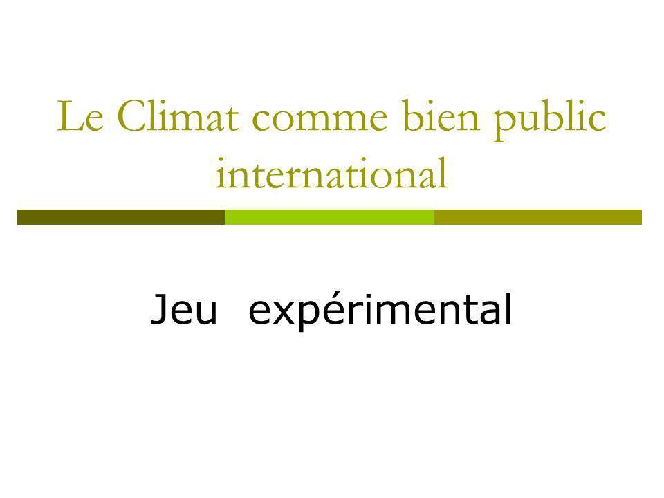 Le Climat comme bien public international Jeu expérimental