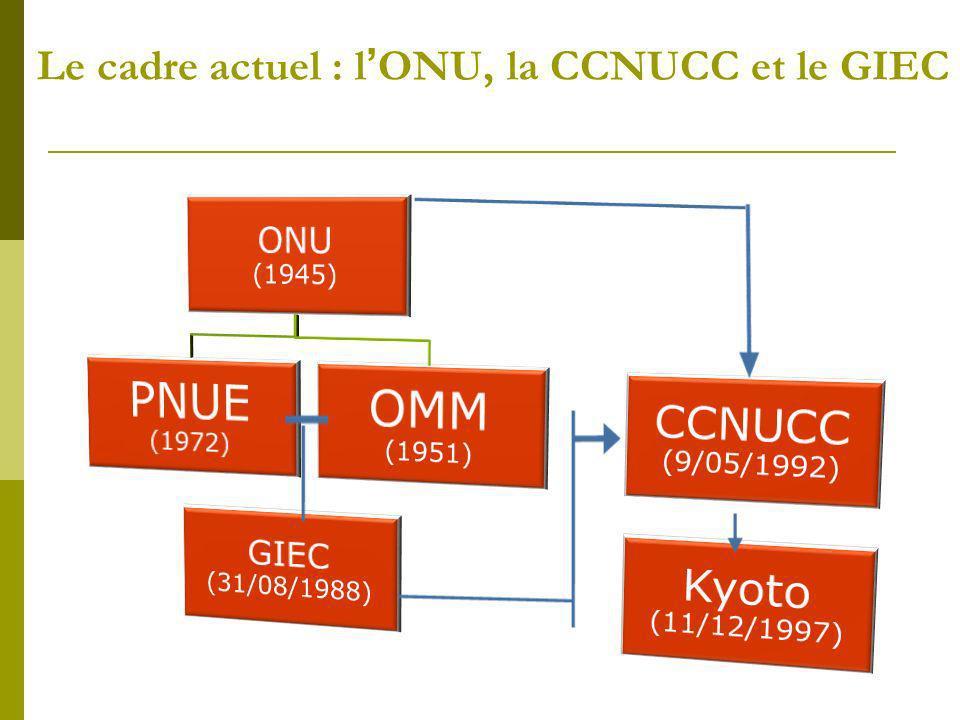 Le cadre actuel : l ONU, la CCNUCC et le GIEC