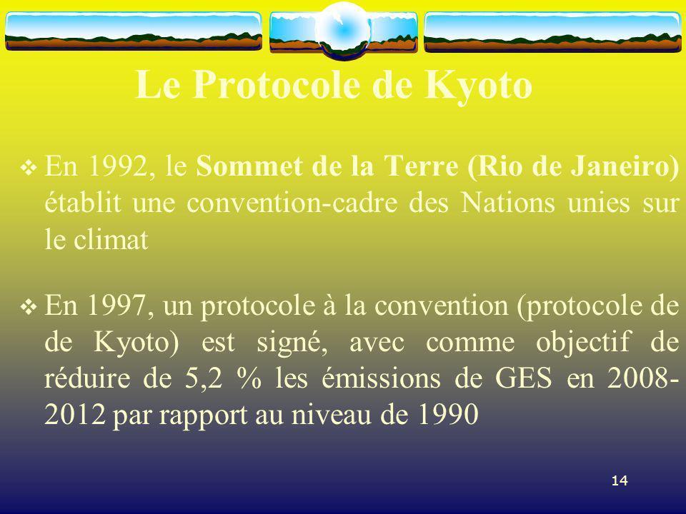 14 Le Protocole de Kyoto En 1992, le Sommet de la Terre (Rio de Janeiro) établit une convention-cadre des Nations unies sur le climat En 1997, un prot