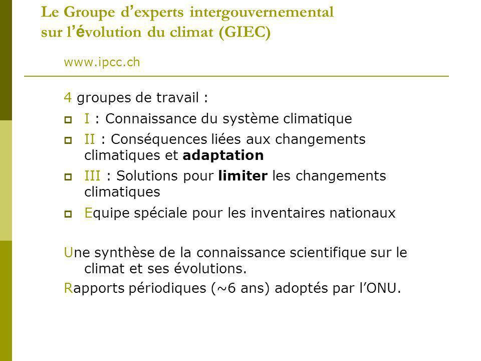 Le Groupe d experts intergouvernemental sur l é volution du climat (GIEC) www.ipcc.ch 4 groupes de travail : I : Connaissance du système climatique II