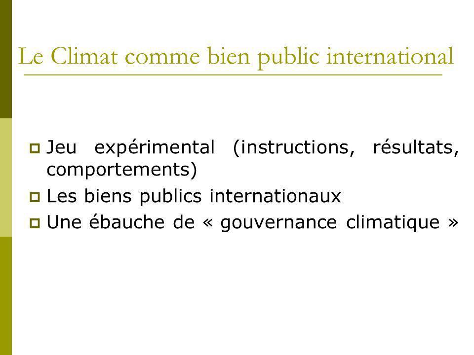 Le Climat comme bien public international Jeu expérimental (instructions, résultats, comportements) Les biens publics internationaux Une ébauche de «