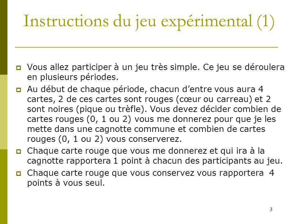 3 Instructions du jeu expérimental (1) Vous allez participer à un jeu très simple. Ce jeu se déroulera en plusieurs périodes. Au début de chaque pério