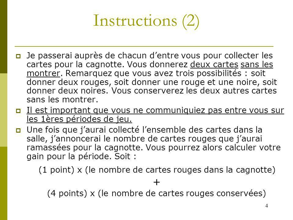 4 Instructions (2) Je passerai auprès de chacun dentre vous pour collecter les cartes pour la cagnotte. Vous donnerez deux cartes sans les montrer. Re