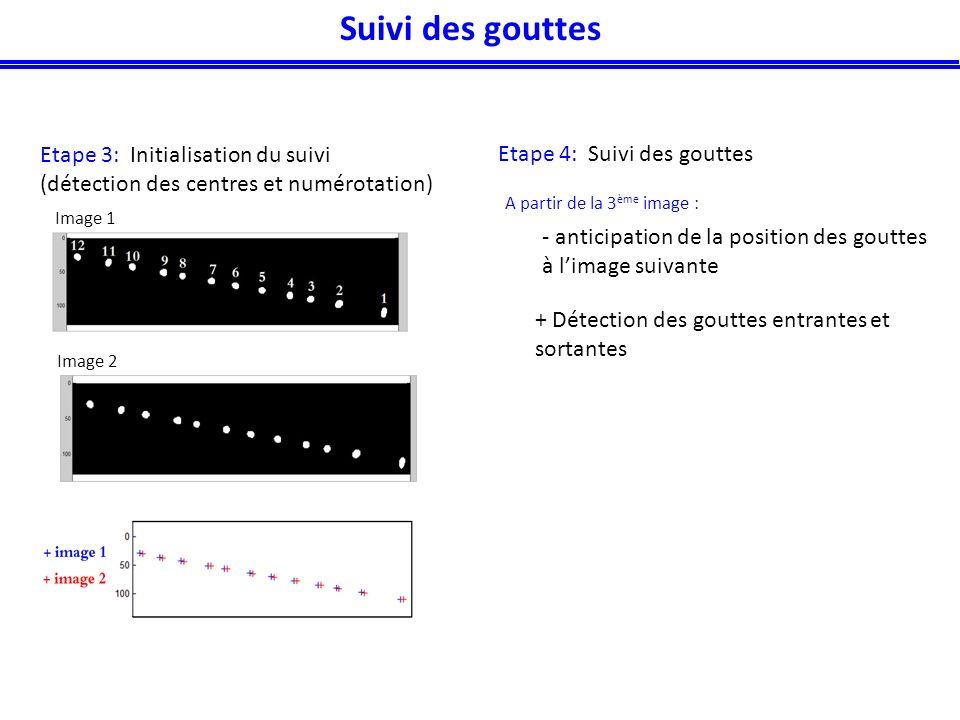 Etape 3: Initialisation du suivi (détection des centres et numérotation) Etape 4: Suivi des gouttes A partir de la 3 ème image : + Détection des gouttes entrantes et sortantes Image 1 Image 2 - anticipation de la position des gouttes à limage suivante Suivi des gouttes