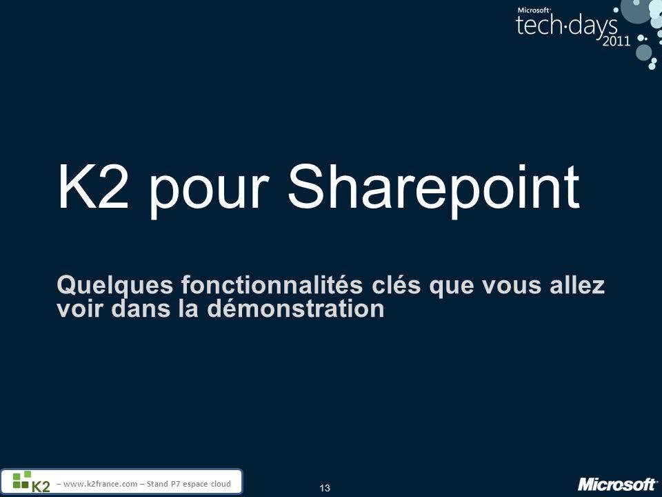 13 – www.k2france.com – Stand P7 espace cloud K2 pour Sharepoint Quelques fonctionnalités clés que vous allez voir dans la démonstration