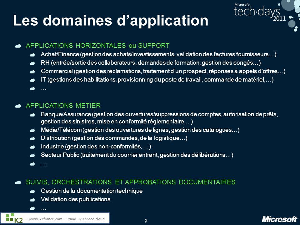 20 – www.k2france.com – Stand P7 espace cloud MSDN et TechNet : lessentiel des ressources techniques à portée de clic http://technet.com http://msdn.com Portail administration et infrastructure pour informaticiens Portail de ressources technique pour développeurs