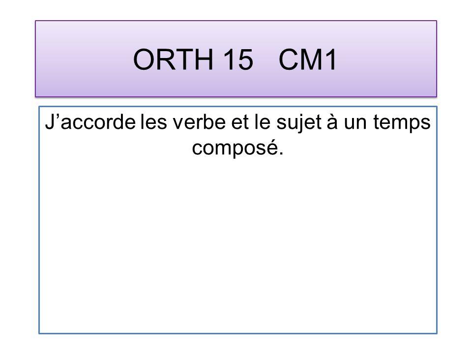 ORTH 15 CM1 Jaccorde les verbe et le sujet à un temps composé.