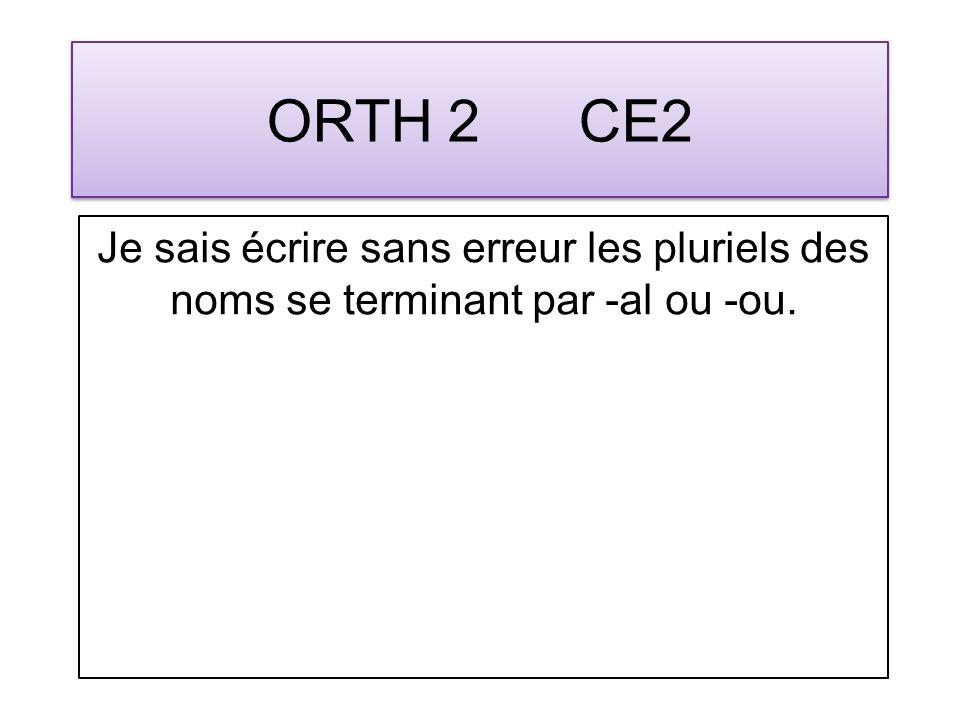 ORTH 13 CM1 Jécris sans erreur le pluriel des noms se terminant par -au et -ail.