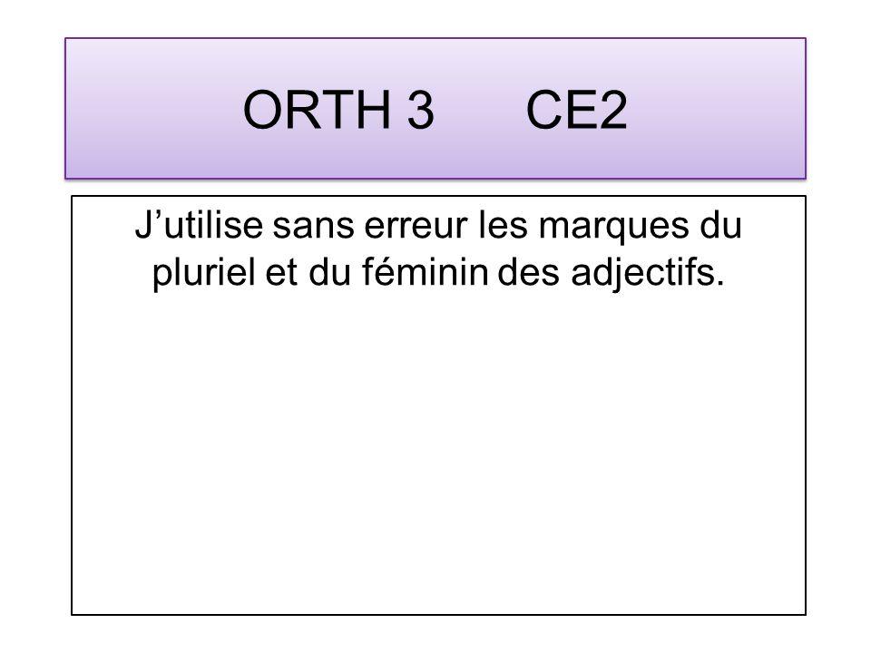 ORTH 3 CE2 Jutilise sans erreur les marques du pluriel et du féminin des adjectifs.