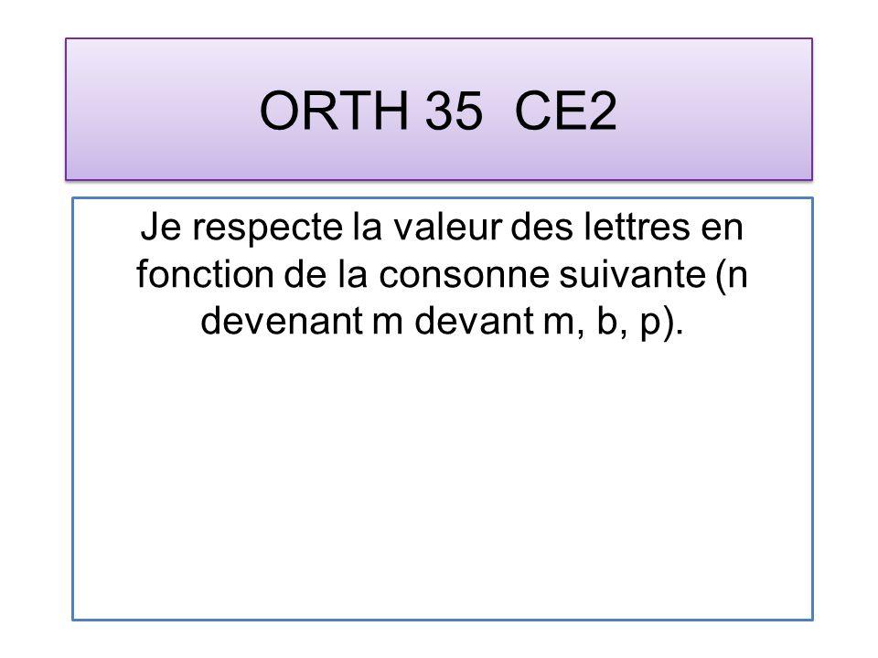 ORTH 35 CE2 Je respecte la valeur des lettres en fonction de la consonne suivante (n devenant m devant m, b, p).