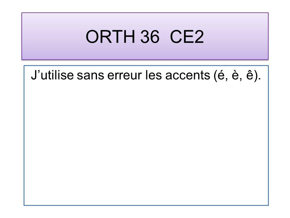 ORTH 36 CE2 Jutilise sans erreur les accents (é, è, ê).