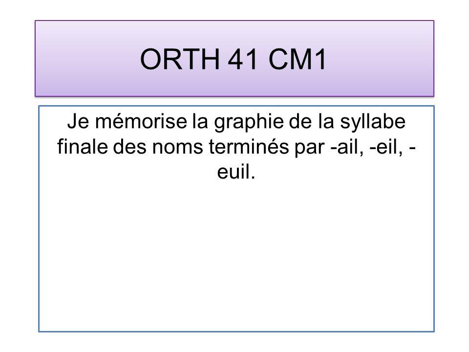 ORTH 41 CM1 Je mémorise la graphie de la syllabe finale des noms terminés par -ail, -eil, - euil.