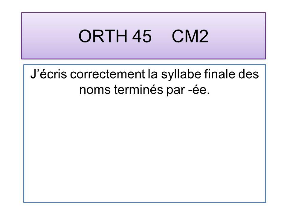 ORTH 45 CM2 Jécris correctement la syllabe finale des noms terminés par -ée.
