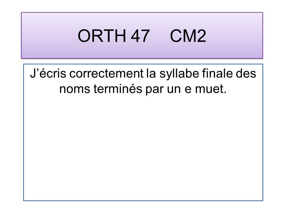 ORTH 47 CM2 Jécris correctement la syllabe finale des noms terminés par un e muet.