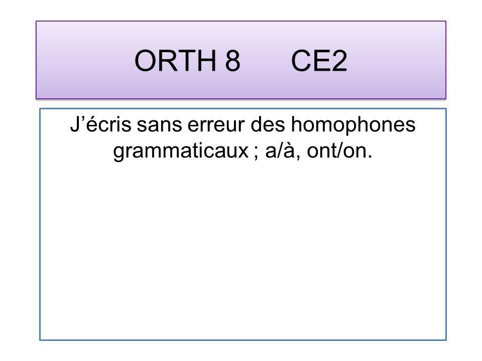 ORTH 8 CE2 Jécris sans erreur des homophones grammaticaux ; a/à, ont/on.